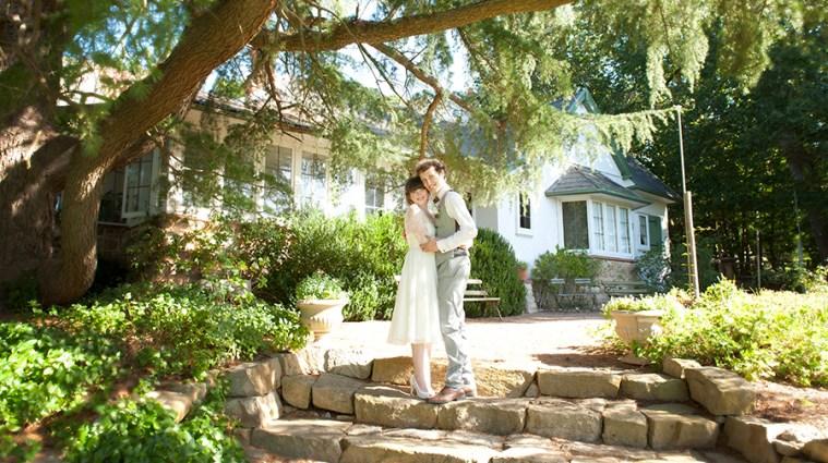 Bride and Groom in front of Hans Heysen House