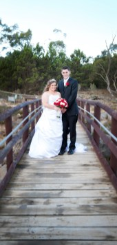 Bride and Groom on bridge