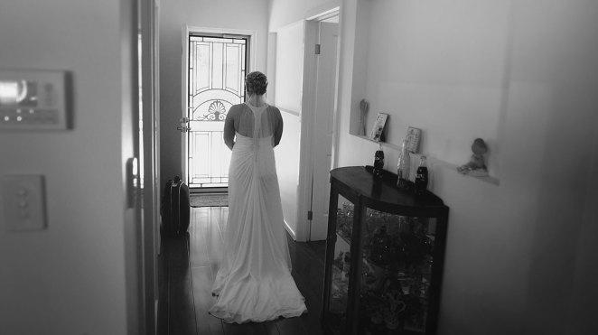 Walking down hall i wedding dress