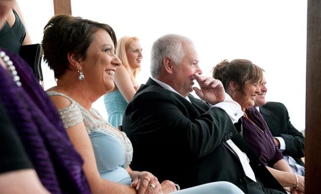 Wedding congregation showing emotion