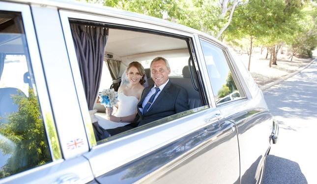 Bride and Dad in Car