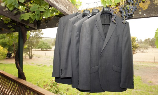 Suits hanging outside