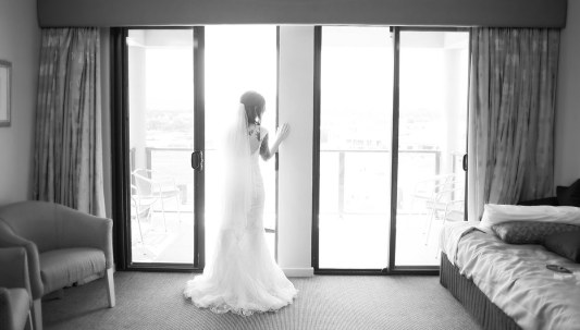 Looking out at wedding