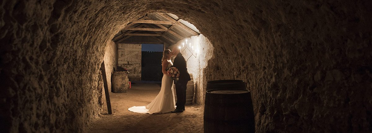 Maxwell winery Cellar wedding photo