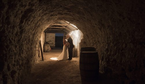 Maxwell winery Cellar wedding photo