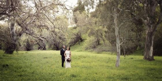 Bride and groom in Australian bush
