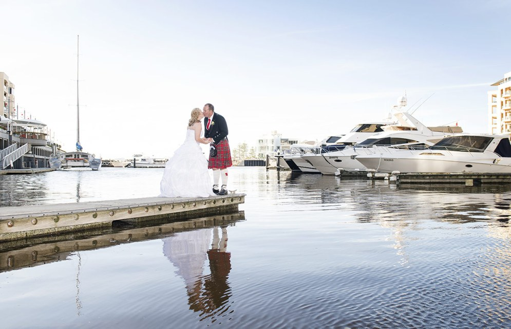 Bride and Groom in marina