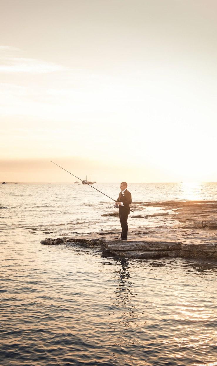 Groom fishing