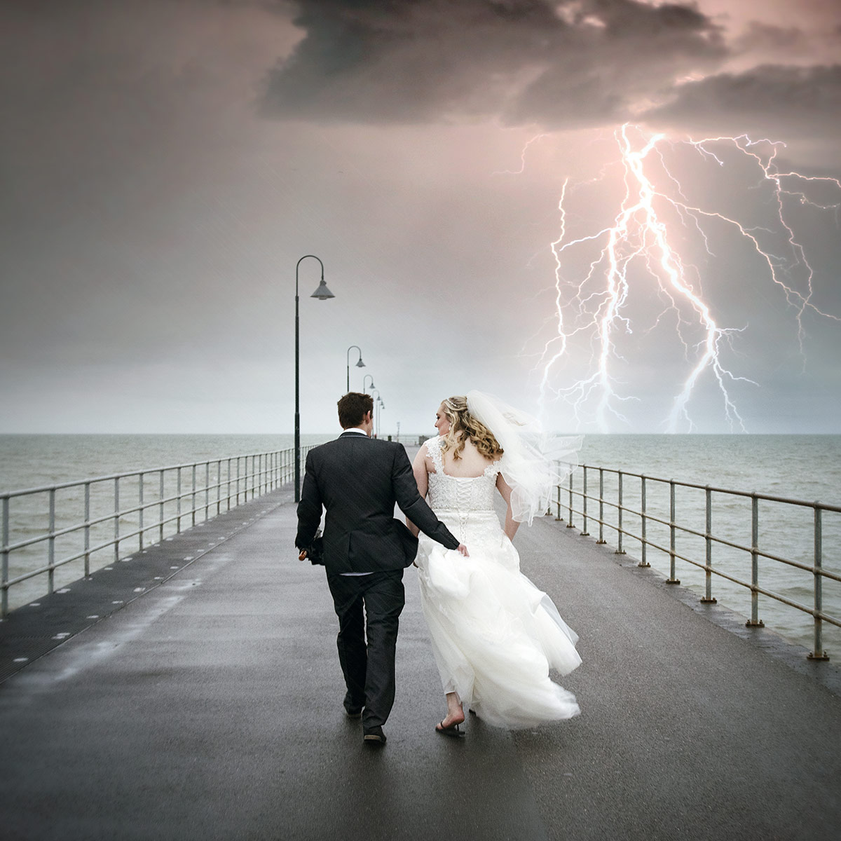 Bride and Groom with Lightning