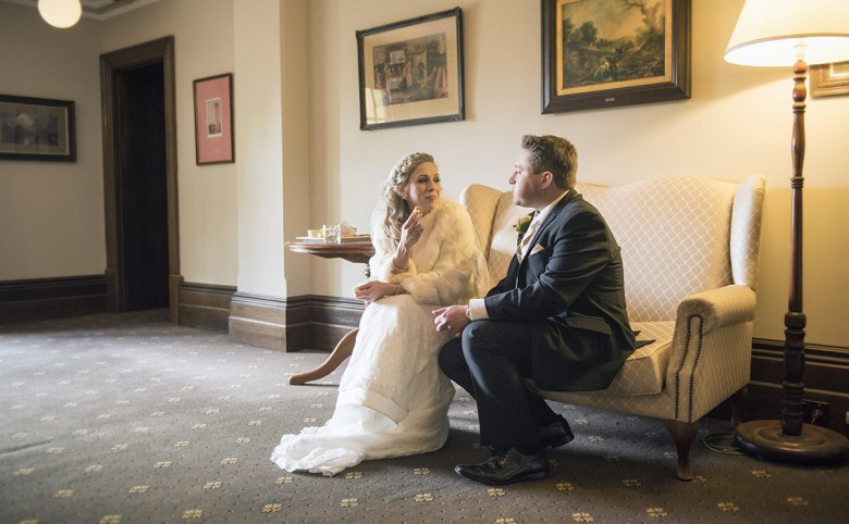 Bride and groom having a rest