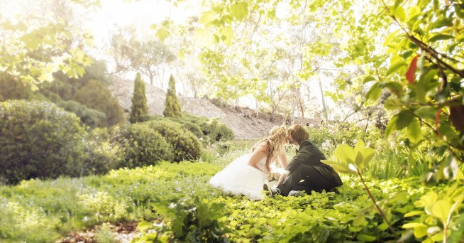 Bride and groom at the Stockade botanical park
