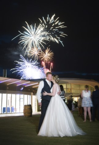 Fireworks wedding over Auchendarroch House