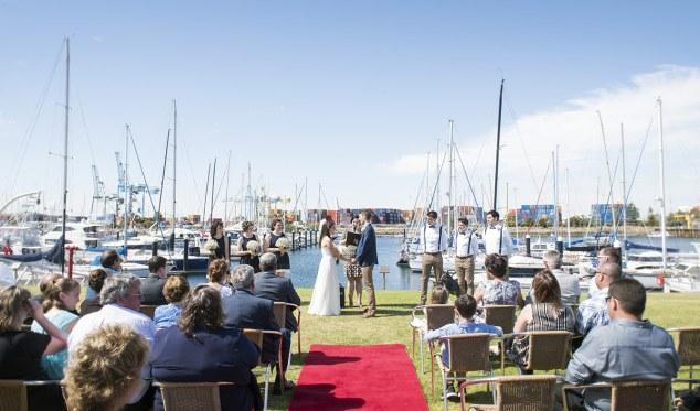 Wedding over marina