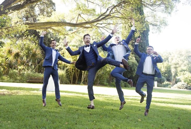 Jumping groomsmen