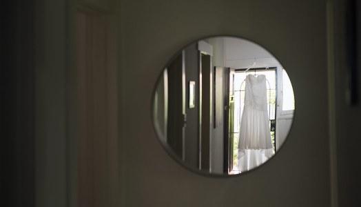 Wedding dress in mirror