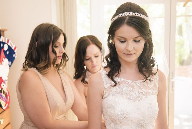 Bridal party helping out