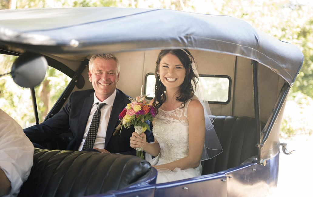 Bride and Father in car