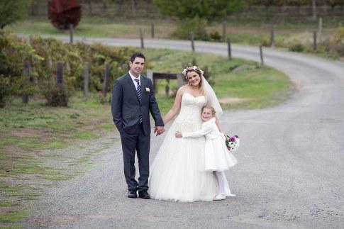 Bride, groom and flowergirl