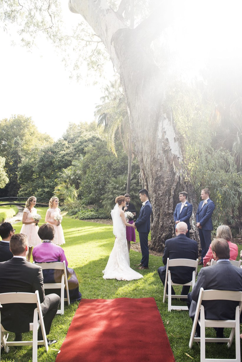 Sun lit wedding ceremony