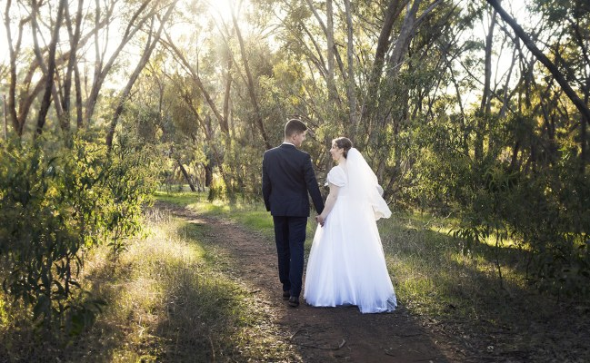 Bride and Groom walking about