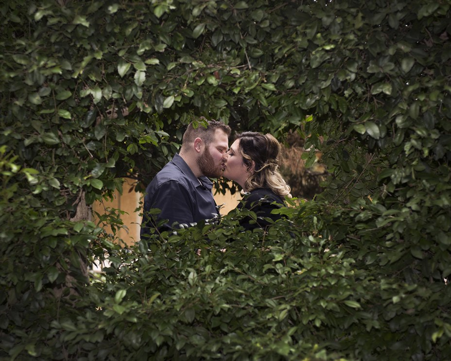 Kissing through a hedge