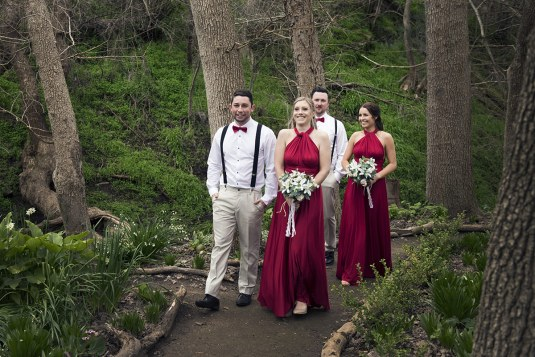 Bridal party walking about