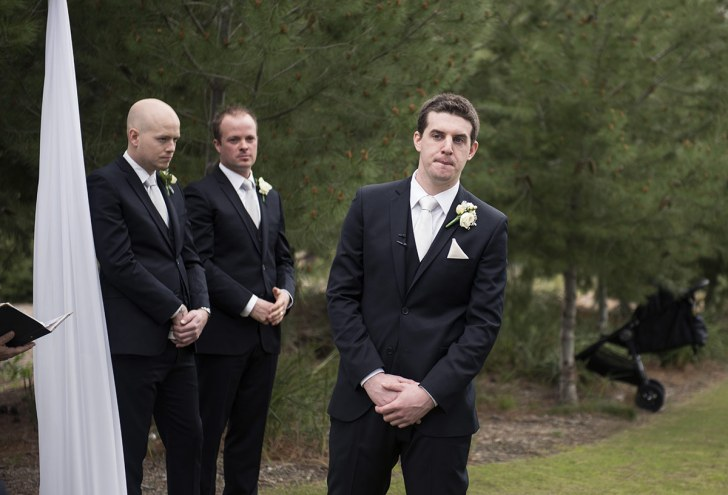 Groom looking out for Bride