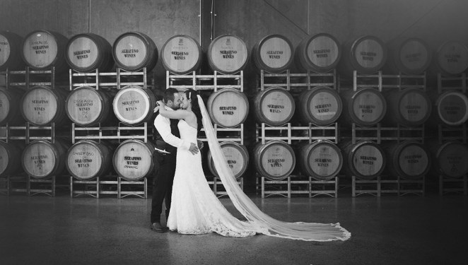 In the barrel room