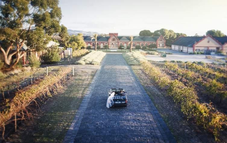 Driving toward Chateau Tanunda