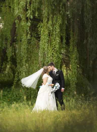 In front of a weeping willow