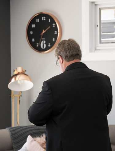 Dad checking the time