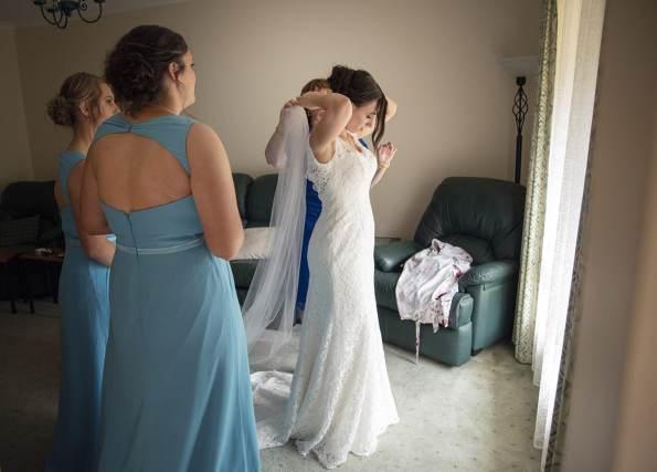 Putting on dress