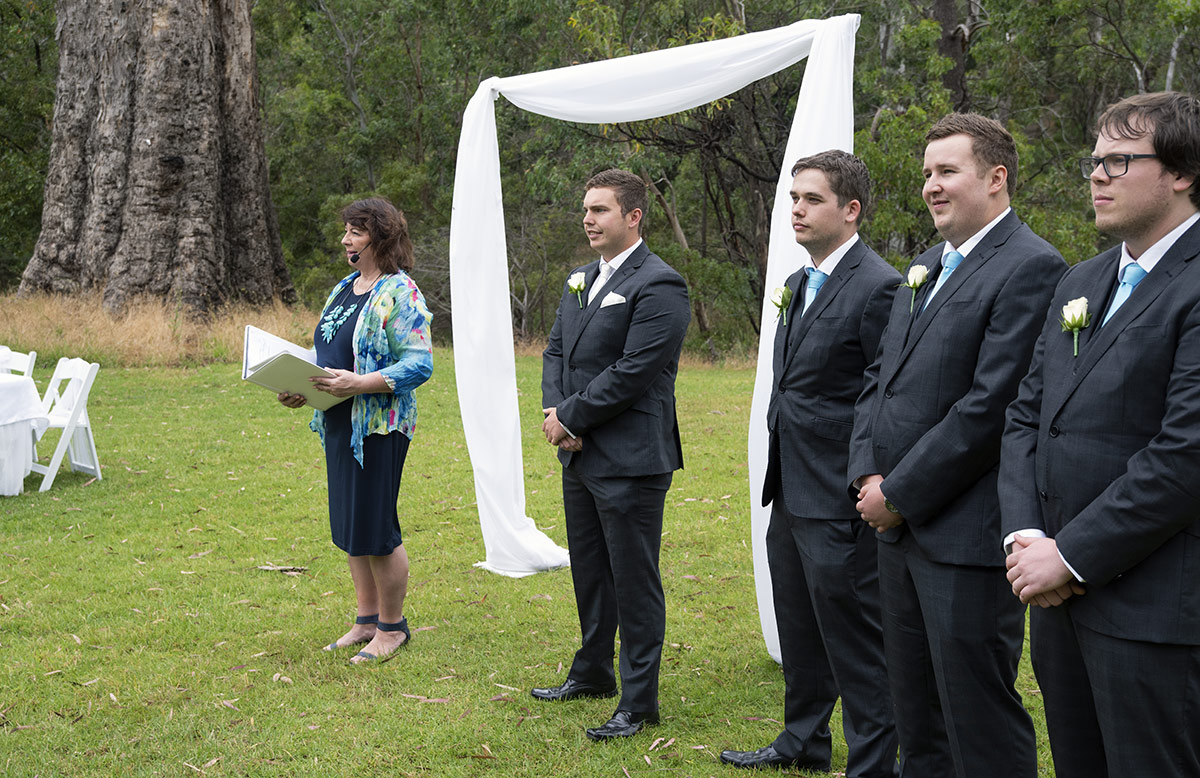 Groom standing out the front