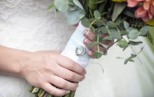 Rings on bouquet