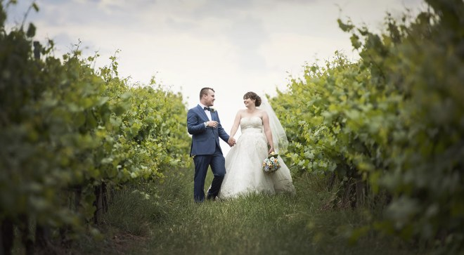 Walking along the vineyard
