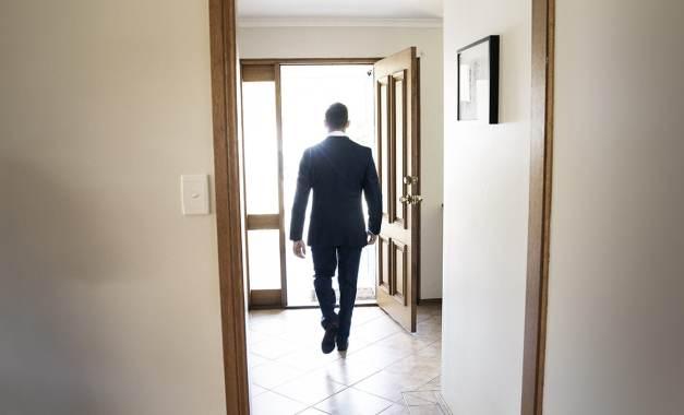 Walking out door