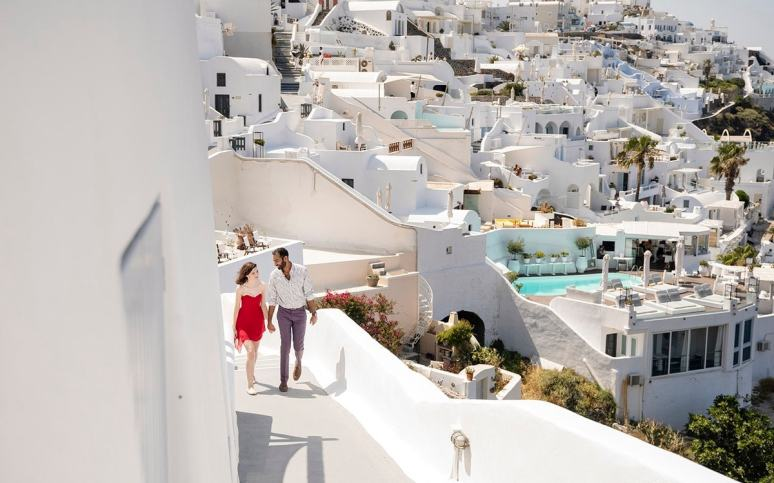 Walking about Santorini
