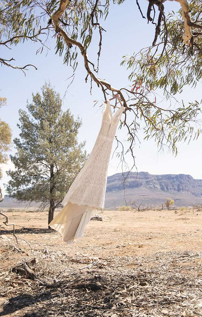 Wedding Dress hanging infront of Wilpena Pound