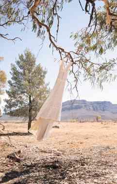 Wedding Dress hanging infront of Wilpena Pound