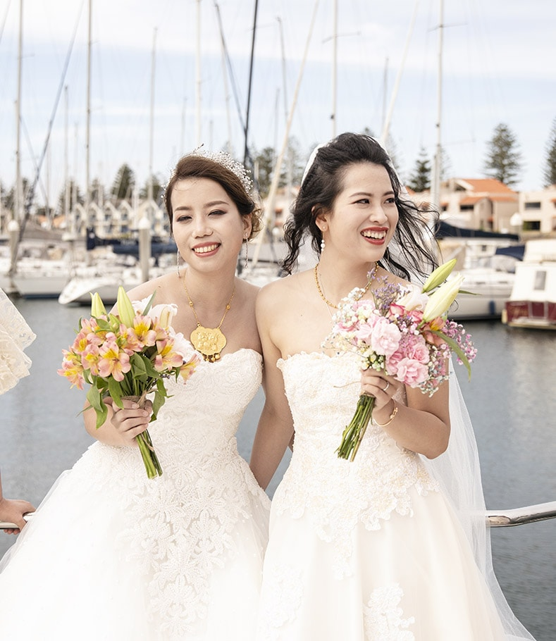 brides on yacht