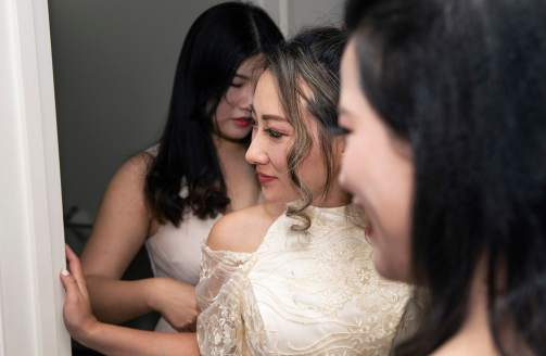 Girls looking on