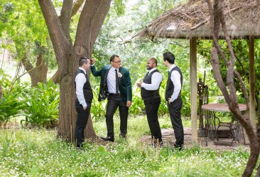 Groomsmen standing together