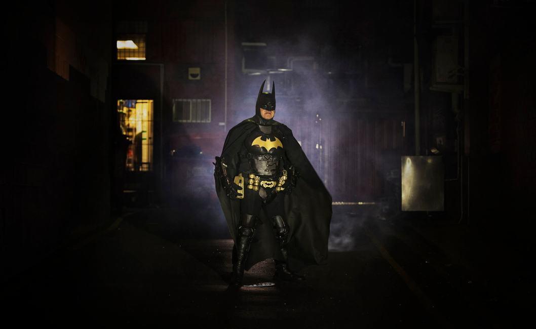 Batman cosplay in Adelaide allyway