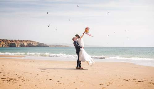 Bride and groom on Maslins Beach