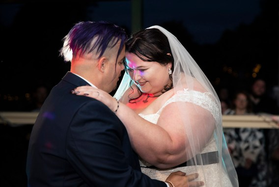 Dancing together on their wedding day