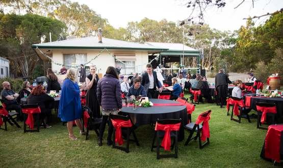 Farm wedding reception setup