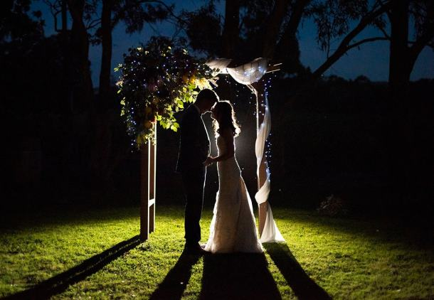 Woodstock winery wedding at night