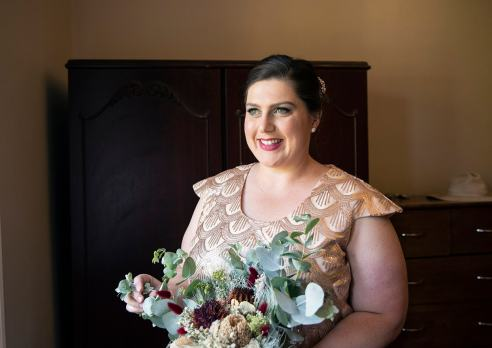 Smiling bride in natural light