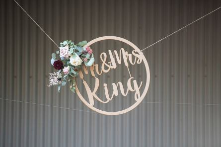 Wedding sign hanging at Kuitpo Hall