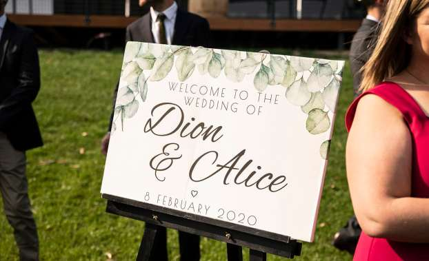 Alice and Dion's wedding sign
